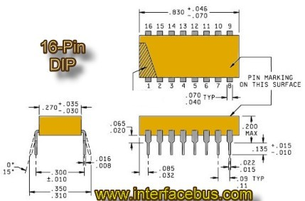 Molded plastic 16-pin DIP Resistor Package outline and dimensions