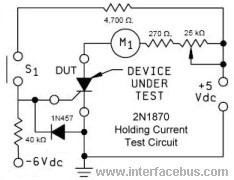 Test circuit tp measure the holding current of a 2N1870 Thyristor