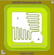 Semiconductor die layout for a 2N2222A transistor