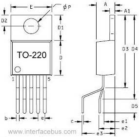 TO-220 Transistor Package drawing, 5-Terminal Staggered Leads