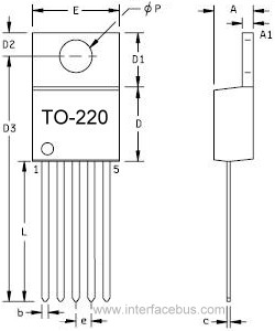 TO-220 Transistor Package drawing, 5-Terminal front and back view