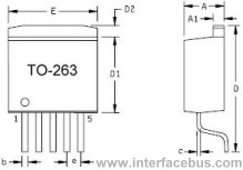 TO-263 Semiconductor 5-Terminal Package drawing