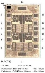 Picture of the semiconductor die of a 54ACT32 Quad 2-Input OR Gate