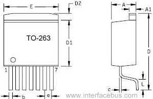 TO-263 Semiconductor 7-Terminal Package drawing