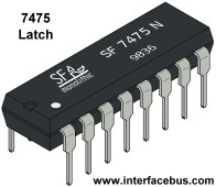 7475 TTL Latch in a 16 pin DIP Package