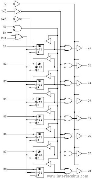 IC schematic for an 8-Bit Latch with Read-Back Schematic