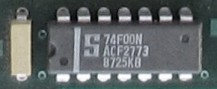 A board mounted 74F00 AND gate with a single by-pass capacitor installed