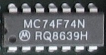 74F74 D type Flip Flop in a 14-pin DIP package