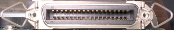 Pinout for a 36-pin male and female centronics connector