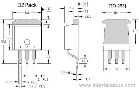 TO-263 Transistor 3-Terminal Package drawing, top,side,back view