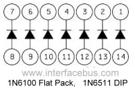 1N6100 Diode Array schematic and pin out