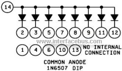 Common Anode Diode Array using pin number for 1N6507
