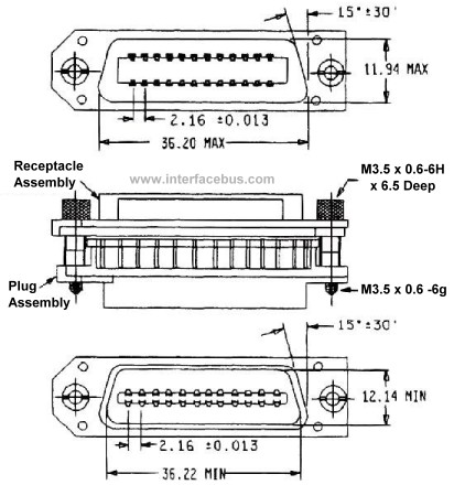 IEEE-488 Connector Mechanical Specification and Connector Drawing
