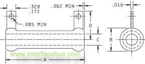 Tab-terminal Power Resistor, mechanical drawing