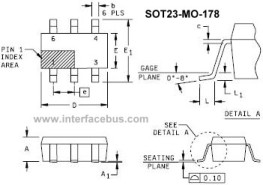 SOT23-MO-178 Package Out-line for a 6-pin SOT-23 Transistor