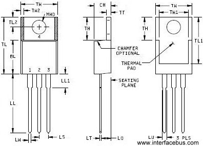 TO-220 Transistor Package drawing, 3-Terminal top,side,back view