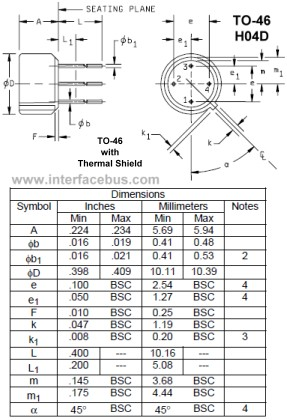 4-terminal TO-46 Drawing and lead identification encased in a thermal shield