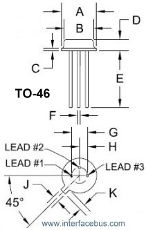3-terminal TO-46 Drawing and lead identification
