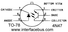 4N47 Opto-Coupler Schematic, TO-78, Pin-out and Lead Identification