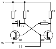 Monostable Multivibrator circuit schematic
