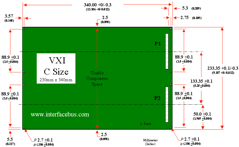VXI Bus C size Card Mechanical Dimensions