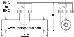 Tee Connector drawing with dimensions