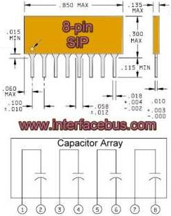 Capacitor Array, 8-Pin SIP Package