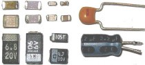Different types Electronic Capacitors, surface mount and through-hole