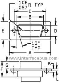 78-pin Dsub Face Plate Physical Dimensions