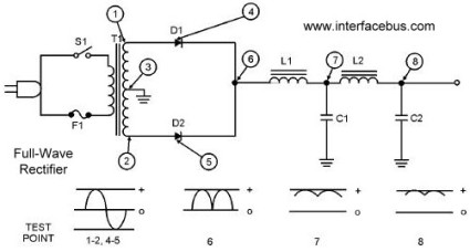 dictionary of electronic and engineering terms full wave full wave rectifier power supply lc choke filter circuit diagram