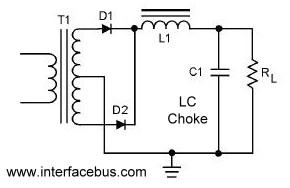 dictionary of electronic and engineering terms full wave full wave rectifier lc choke filter circuit diagram