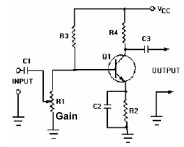 Variable Resistor gain control in a transistor amplifier