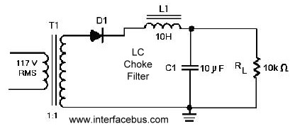 dictionary of electronic and engineering terms half wave half wave rectifier lc choke filter circuit diagram