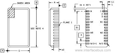 Dual Leadless Chip Carrier Drawing