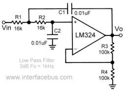 Op  Low Pass Active Filter Design on lm324 op amp circuits