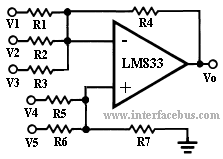 Active Adder and Subtractor using an LM833 Operational Amplifier