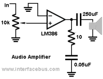 Speaker Amplifier using a Split Voltage Supply Stereo Amplifier Op Amp Circuit