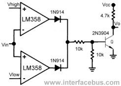 LM358 Window Comparator Circuit Diagram