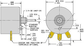 Mechanical drawing of a panel mount Potentiometer