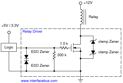 Relay Driver, Internal IC Schematic