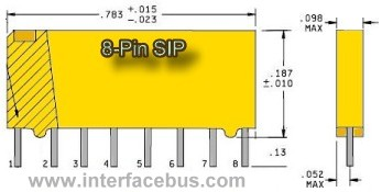 Resistor SIP package physical dimensions