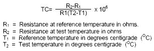 Equation for Temperature Coefficient of Resistance