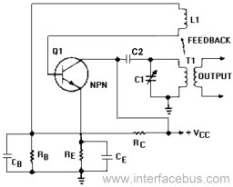 Shunt-Fed Armstrong Oscillator circuit schematic