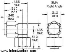 SMA Right Angle Connector per mil-prf-55339-53