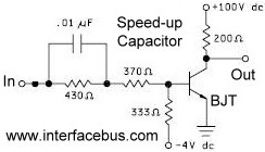 Circuit schematic of how to use a Speedup Capacitor
