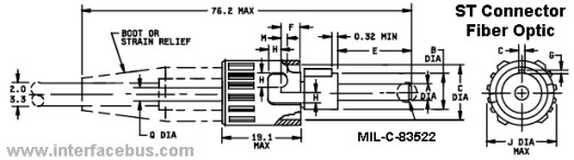 ST Fiber Connector Drawing, Jack