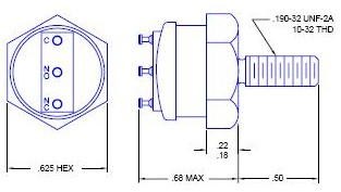 Bolt-Mount Thermostatic Switch Diagram and Dimensions