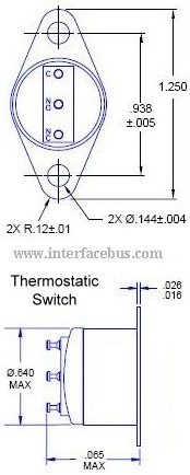 Flange-Mount Thermostatic Switch Diagram and Dimensions