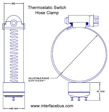 Hose Clamp Thermostatic Switch Diagram and Dimensions