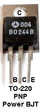 TO-220 BD244 Transistor Package Photograph, 3-Terminal NPN BJT
